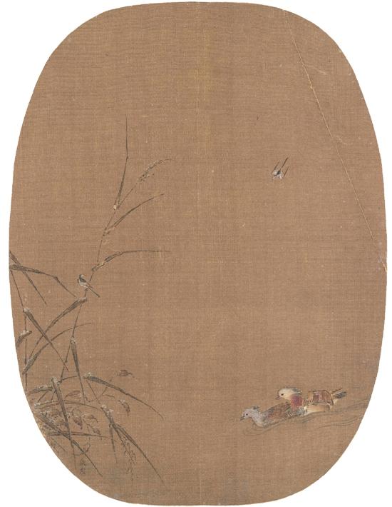 宋 张茂 鸳鸯图纨扇 24.4×18.3cm 故宫博物院藏