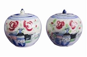 图 民国五彩博古花卉纹小罐