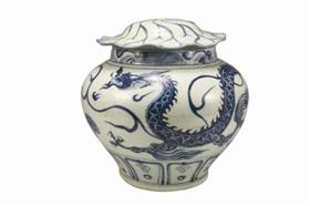 元代景德镇窑青花龙纹荷叶形盖罐
