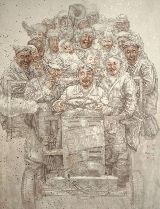 李翔 父老乡亲 国画 230cm×200cm 2004年 第十届全国美展 中国美术馆图片