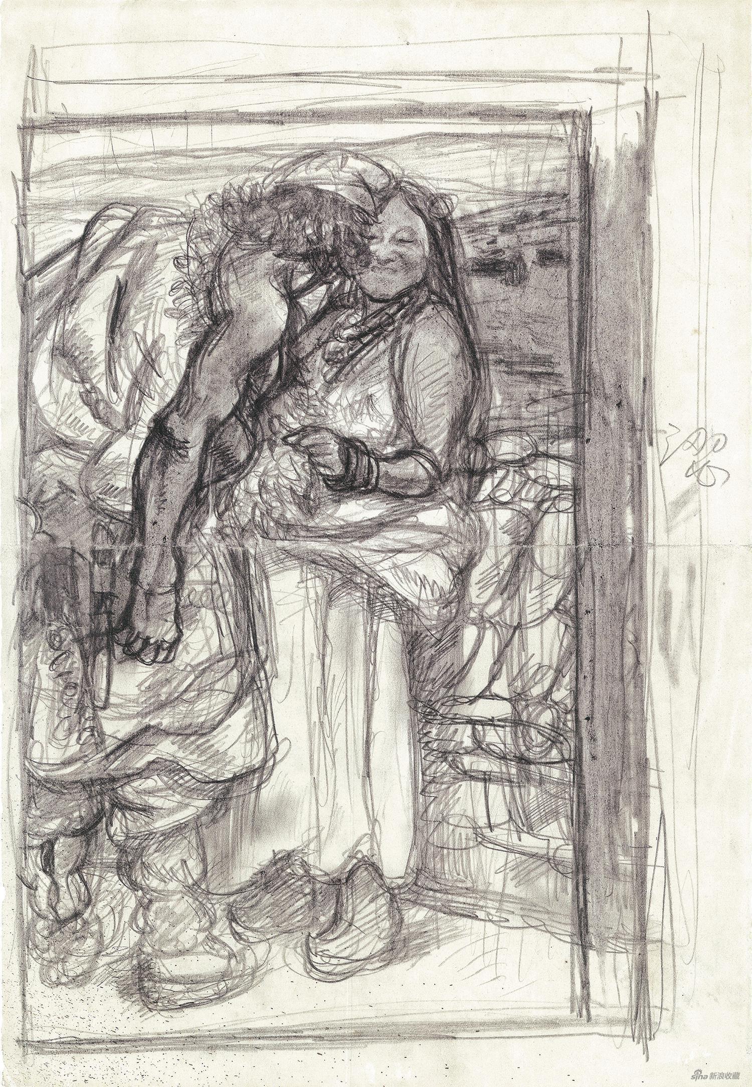 陳丹青 牧羊人 素描草圖