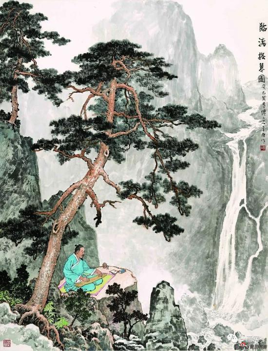 傅二石 山水画《临流抚琴图》