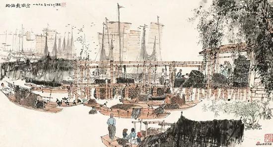 金志远,,船归鱼满仓,1963,40×74cm,纸本水墨设色,中国画