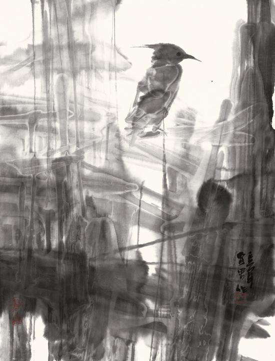 乔宜男《独立》45cm×34cm  纸本水墨  2010年