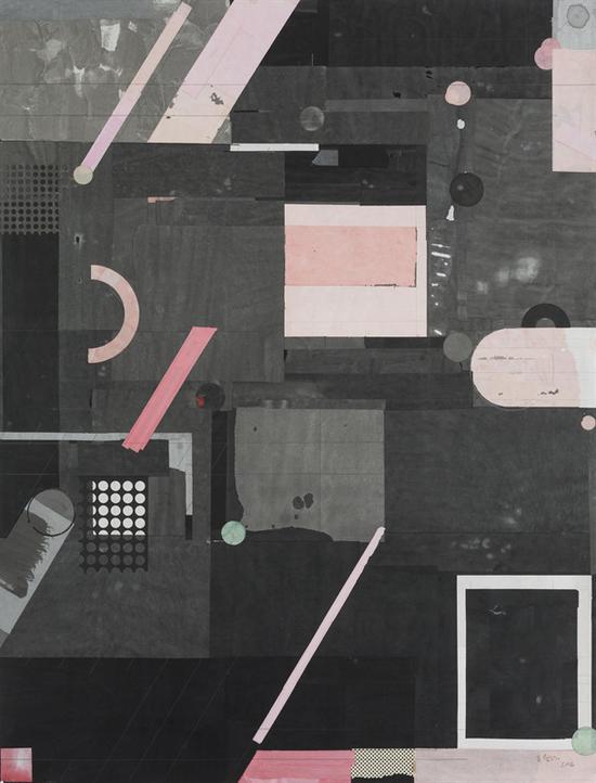 梁铨 流星花园 色、墨宣纸拼贴 160×122cm  2016