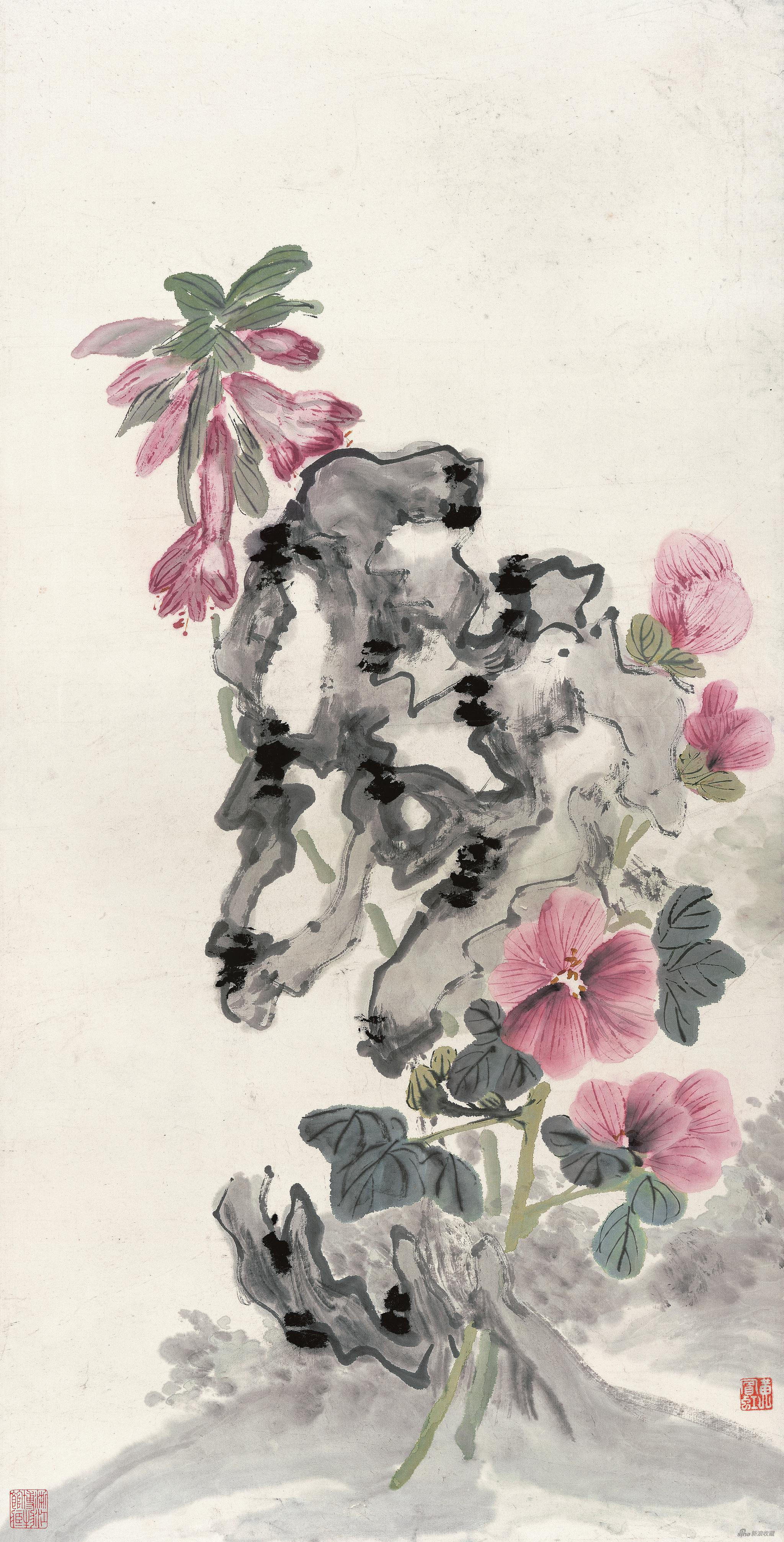 蜀葵玉簪湖石 黄宾虹 75.8cm×38.5cm 无年款 纸本设色 浙江省博物馆藏