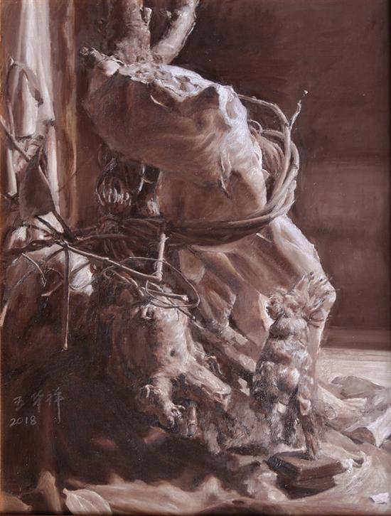 王华祥 抽象的写实5号 50X70cm 布面油画 2017