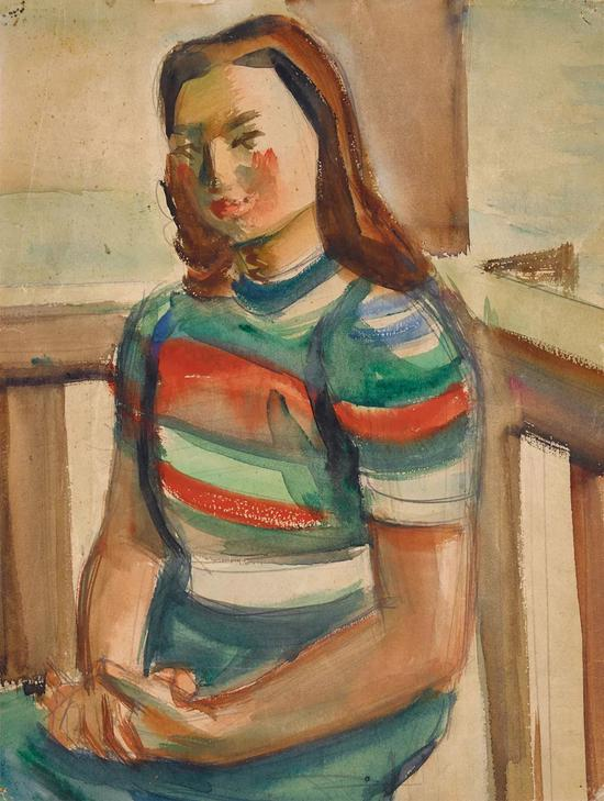 Lot.734 倪贻德 女子坐像 1940年代   纸本水彩 32.5×24.2cm。   来源:直接征集自画家家属