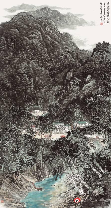 石大法作品《茶盘洲深幽人家》97X180cm