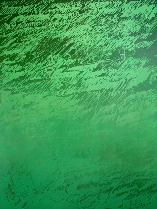 萧搏,《草图2016-绿色3》,布面丙烯,200×150cm,2016