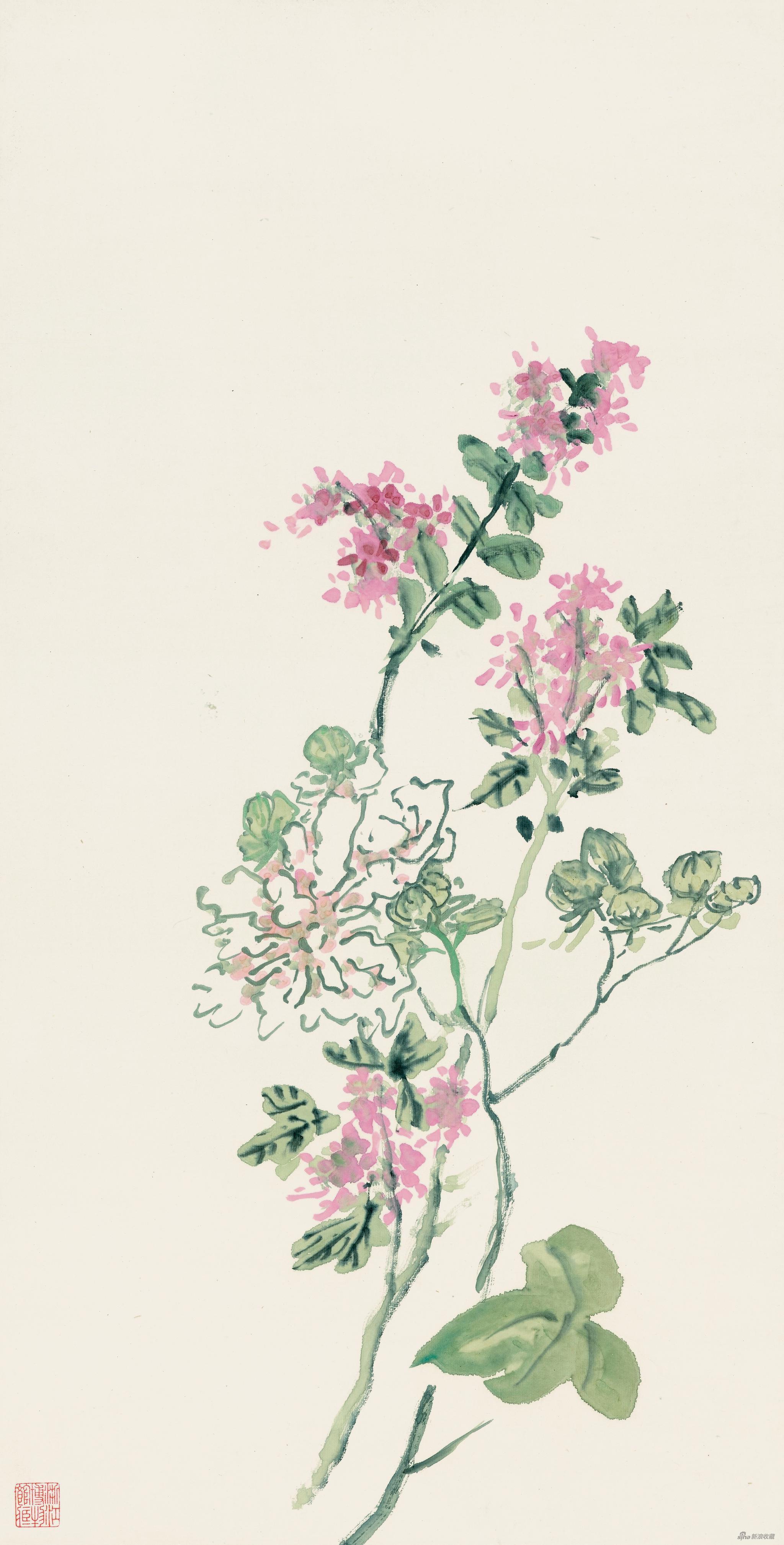 芙蓉紫薇 黄宾虹 65.6cm×33.2cm 无年款 纸本设色 浙江省博物馆藏