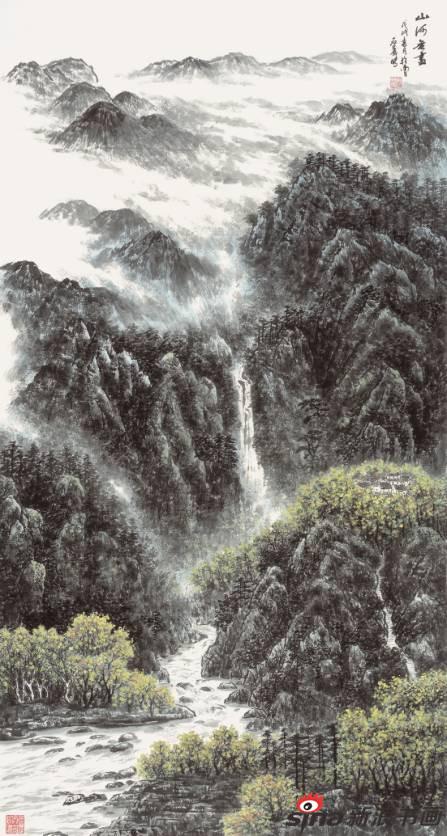 傅石义作品《山河无尽》96X178cm