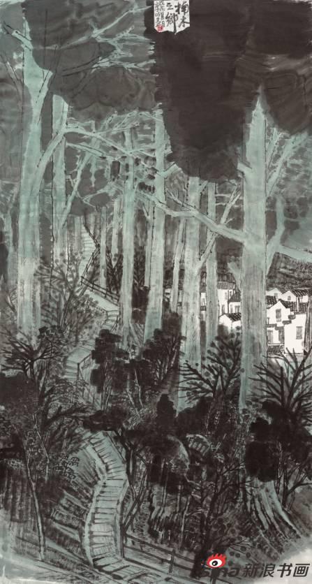 袁庐明作品《楠木之乡》97X180cm