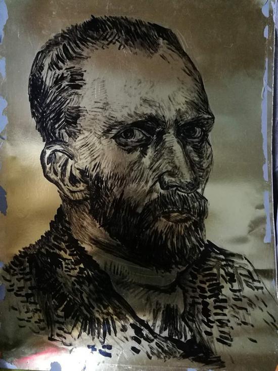 胡建平 《行列——梵高》金属铝纸上油画色 110×80cm 1993