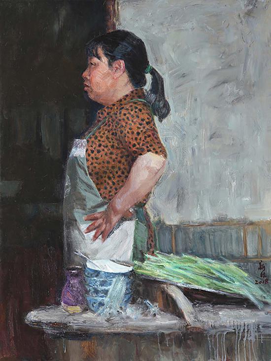 7《女厨》曹新林 130cm×97cm 亚麻布、油彩 2018年