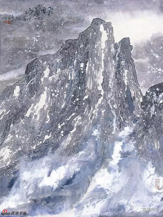 《飞雪华山》163x123cm纸本彩墨2018