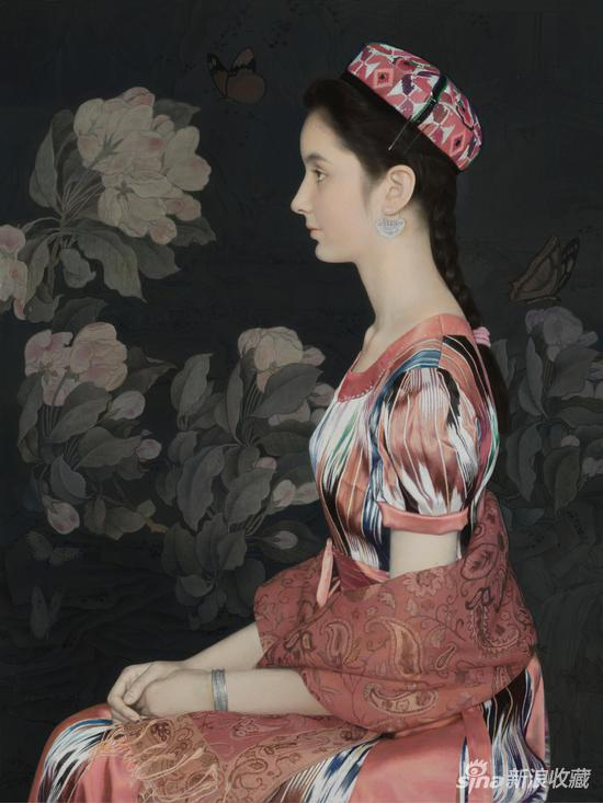 王沂东《轻风海棠图》布面油画 80×60cm 2018年