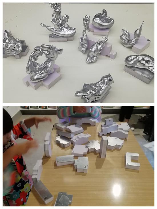上图:张乾乾 5岁 作品《无题》雕塑,下图:张玮《29本》PVC雕刻