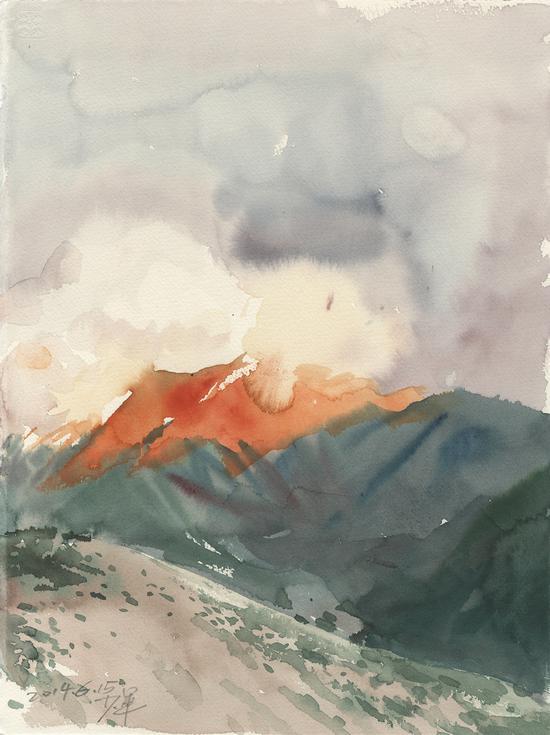《彩云》2014年28.2x37.8cm,水彩171-141
