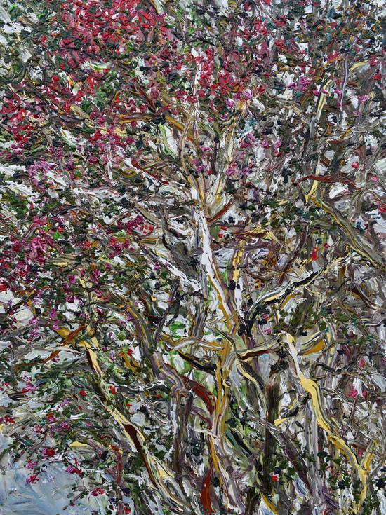 《紫薇蔓藤》Crape Myrtle Vine 2014年7月 200cmX150cm 布面丙烯 Acrylic on canvas(参加法国2016年第109届巴黎秋季艺术沙龙作品)