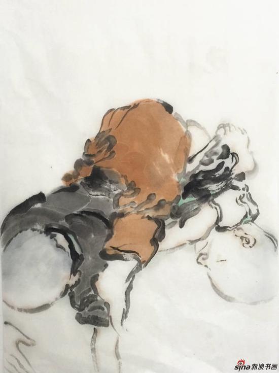 李亚光《童戏图》68X34cm 中国画 2018