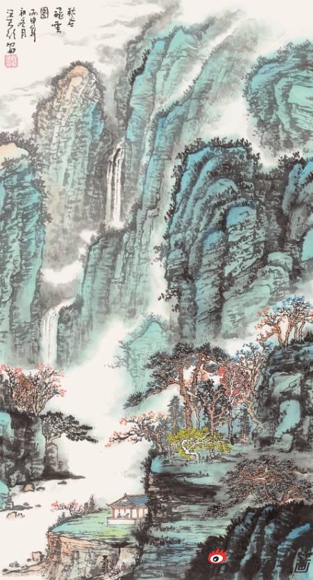 汪天行作品《秋谷飞云图》49X49cm