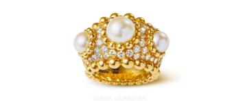 18K黄金镶嵌南洋珍珠配钻石戒指