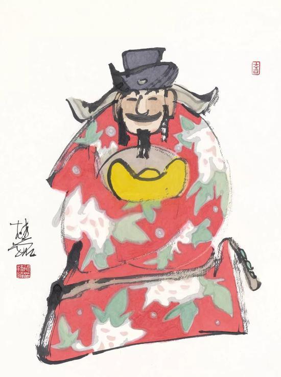 张桂铭 限量盖章版画 《财神》 (外框尺寸:96*78cm)市场价:¥4500