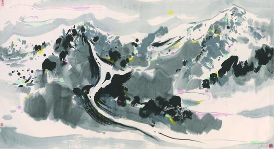 8 吴冠中 《月下玉龙山》 纸本设色 95 × 178 cm 1987年