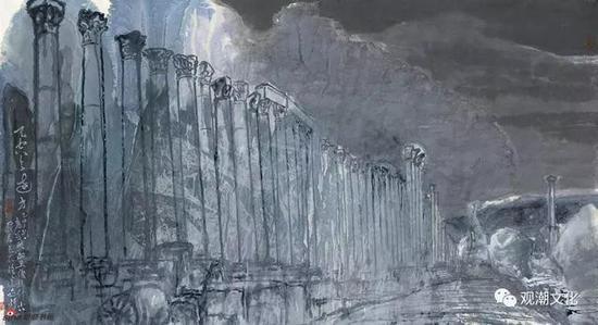 《天空与远方》97x180cm纸本彩墨