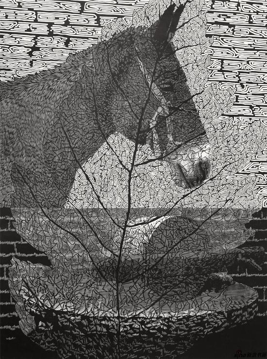 刘艳飞《橱窗里的一片叶子之一》120X90cm 木刻2018年