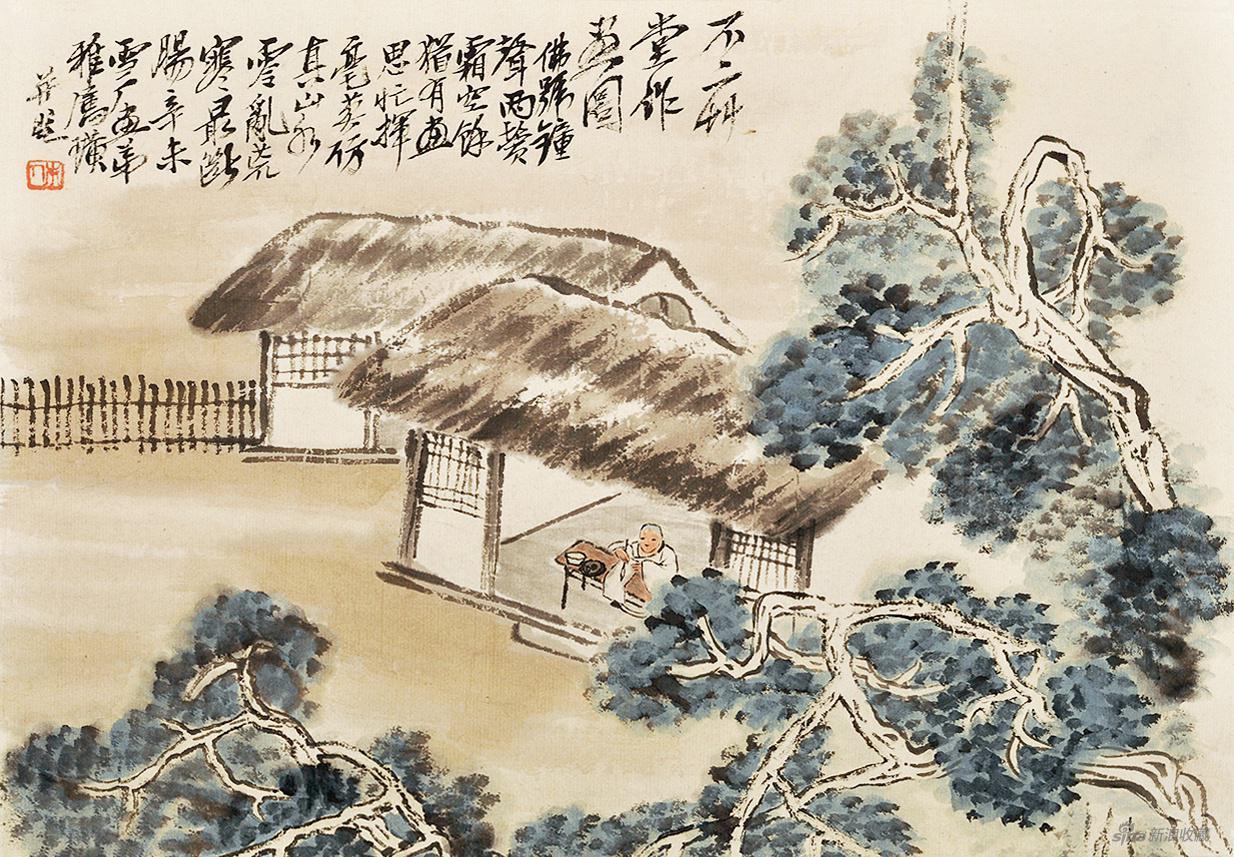 不二草堂作画图 齐白石 1931年 33×47.8cm 纸本设色 徐悲鸿纪念馆藏