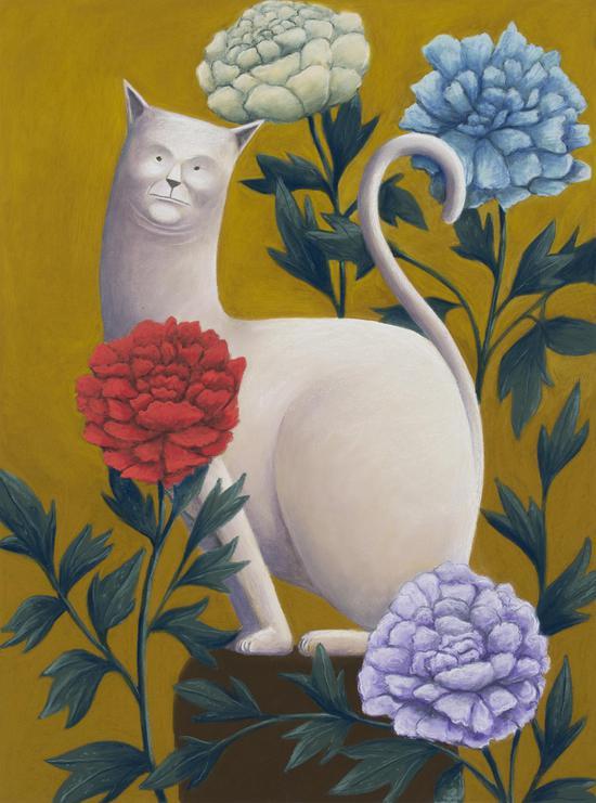 《猫与花》,2018,色粉,100 × 80 cm,由艺术家、kaufmann repetto画廊(米兰/纽约)及The Modern Institute/Toby Webster Ltd(格拉斯哥)惠允