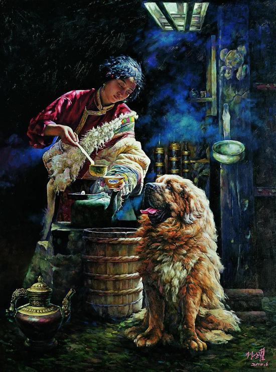 林跃和陪伴他十三年的藏獒西巴王