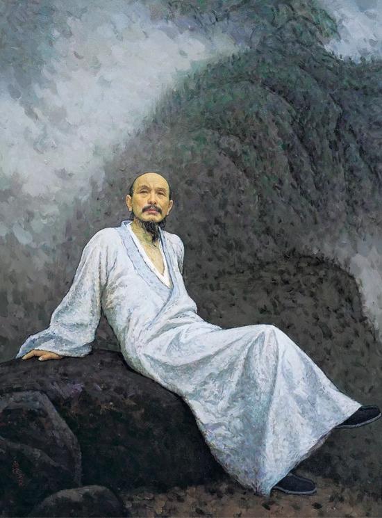 靳尚谊 《画僧髡残》 1999 年 布面 油画150.5×114 cm