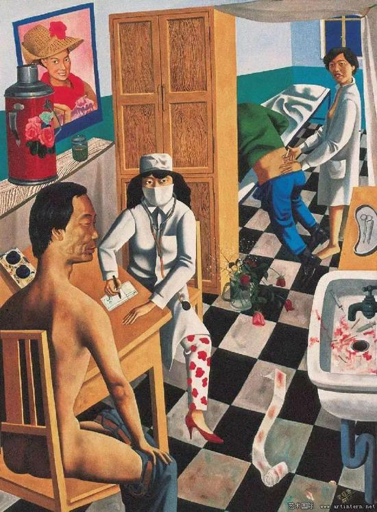 宋永红《医务室》150x110cm,油画,1994