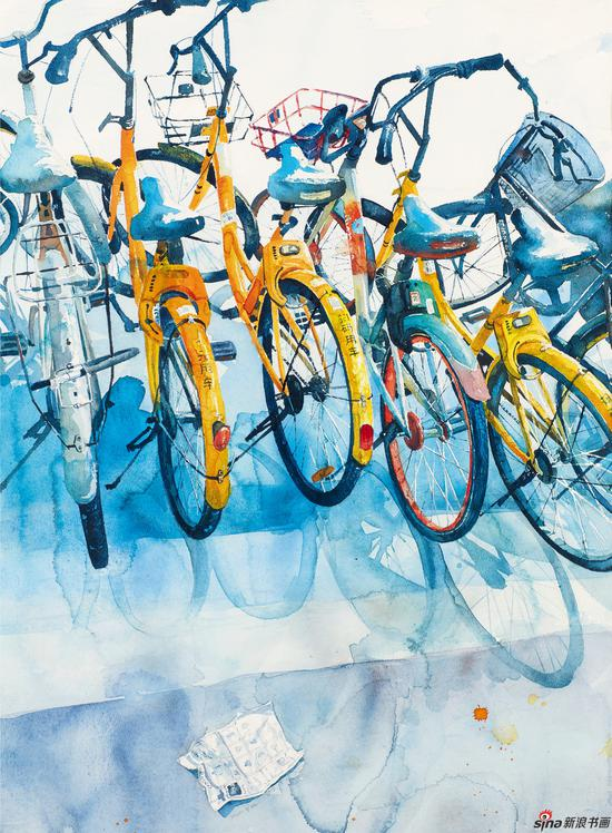 张曼倩 都市生活系列——邂逅 76×54cm 水彩画