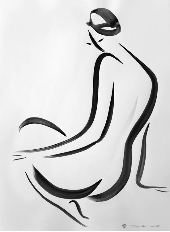 《无题》纸上树胶水彩,56 x 76 cm,2018