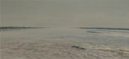 孙景波 银川黄河西望 布面油画  60X125cm 2013