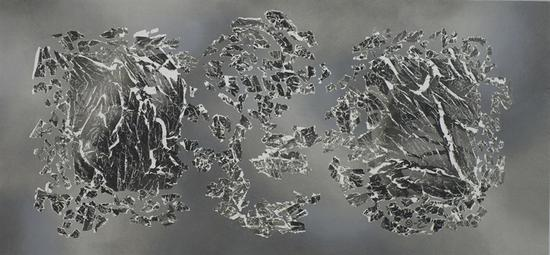 仇德树   裂变—2018,10号   宣纸、丙烯、墨、画布   93×200cm 2018年
