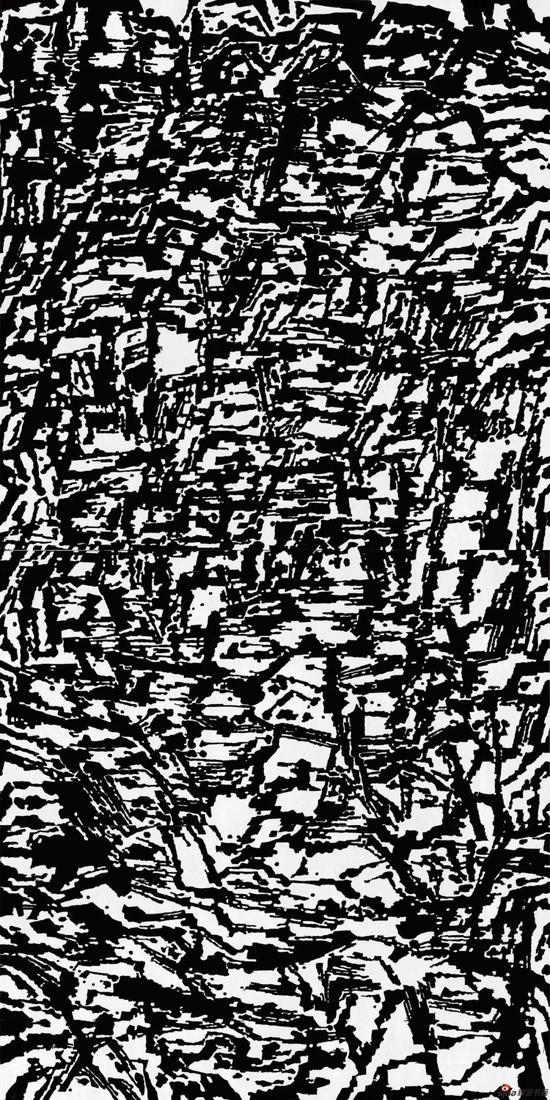 《心象山水—丘壑》,2011年,488*244cm,黑白木刻