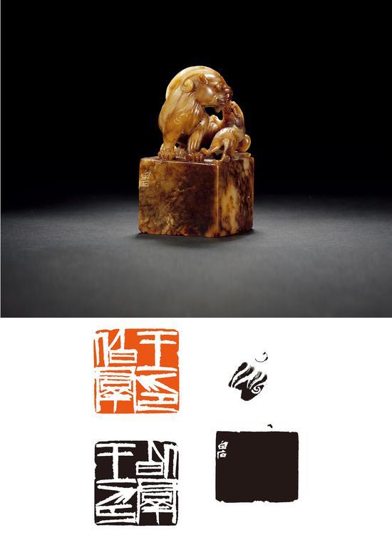 2018西泠秋拍 齐白石刻子母兽钮寿山石王伯群自用印 成交价:115万元