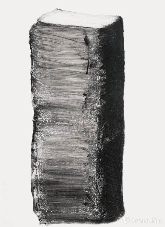 黑鬼 水墨思维 天石 与时间有关吗 系列之三十四No.34, 硬质纸水墨加其他 119×90 cm 2016