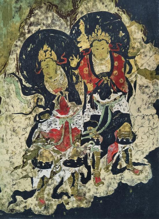 蔡云萍 白沙壁画一 绝版木刻 39X29CM 2000
