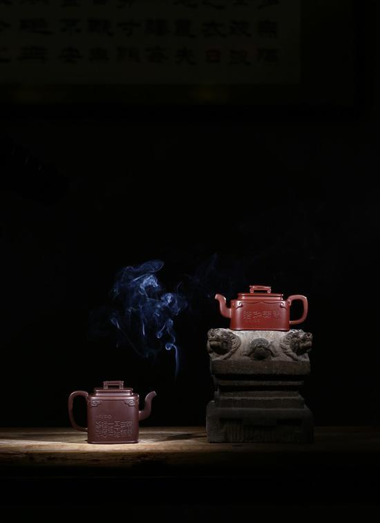 艺术家杨涛作品 琴瑟和鸣系列 泥料:清水泥、紫泥 年代:2018 容量:680 CC