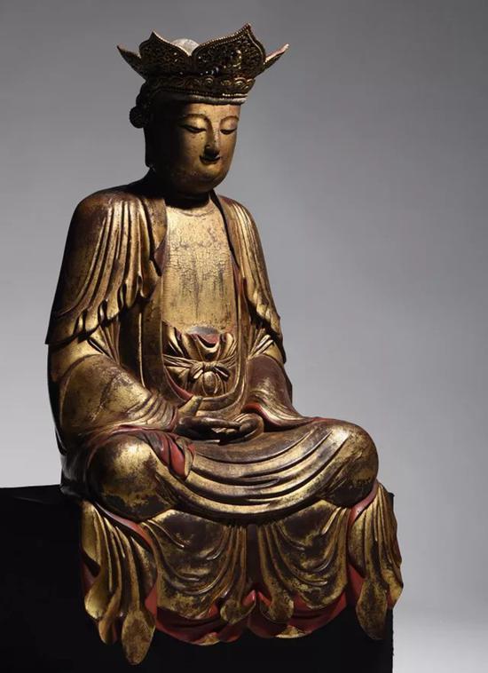 明 木雕漆金观音坐像   H:71cm