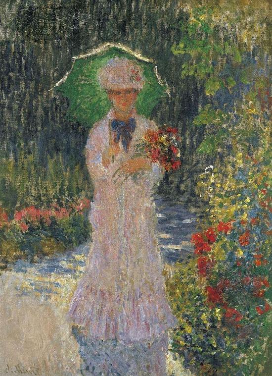 《带着绿伞的卡米雷》Camille with green parasol.1876. 克劳德.莫奈