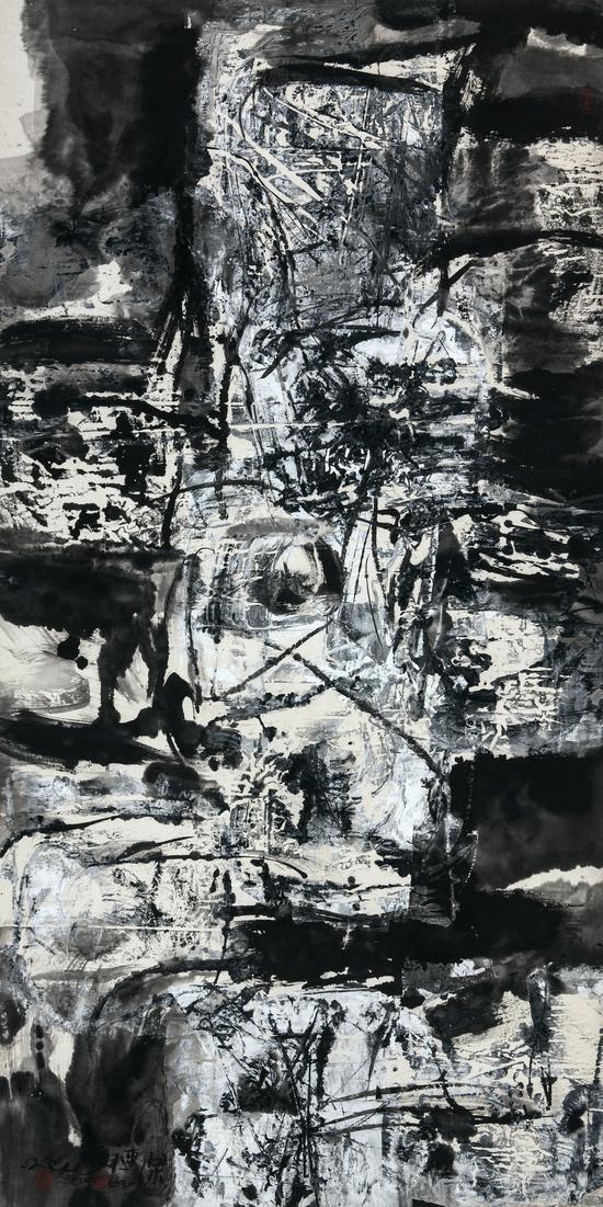 郑连杰作品《零度风景》,2000年,水墨丙烯,66 x 135 cm,?郑连杰工作室