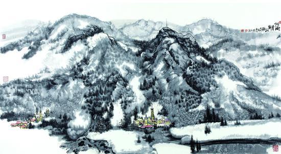 阿尔卑斯山脉 纸本水墨 90X180 2018年