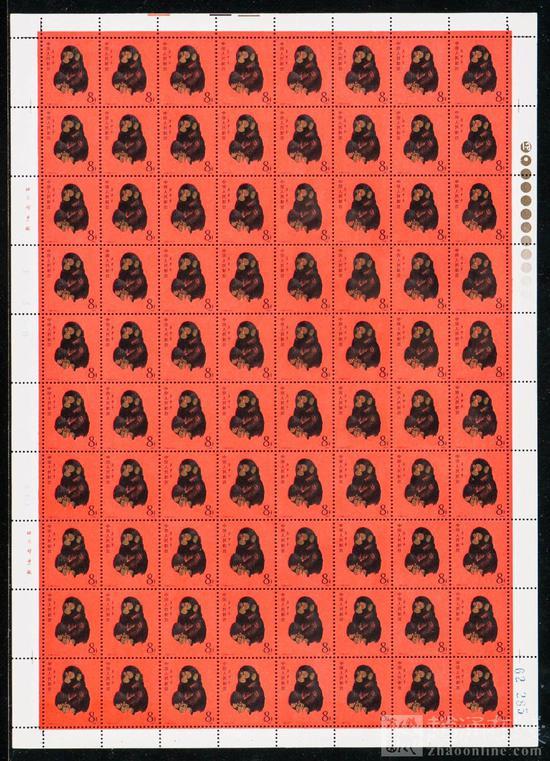 此版上品T46猴年新80套(整版挺版、金色标、62285)最终经过激烈角逐以113.63万元成交,单枚成交均价1.42万元!